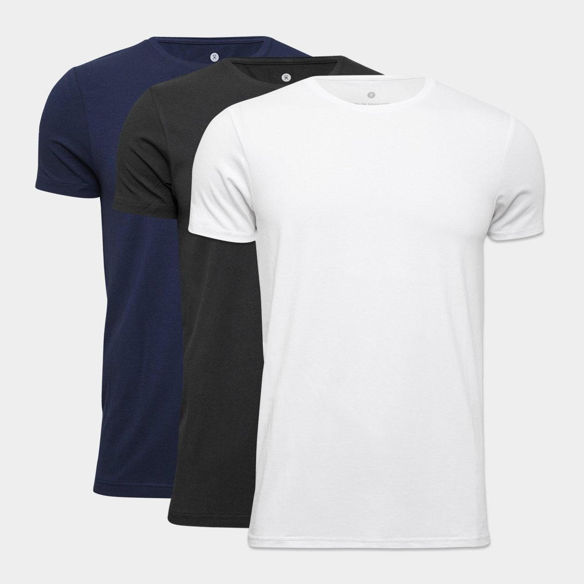 Image of   3 pak basic bambus t-shirts, blå, sort, hvid